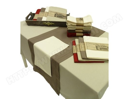 Ensemble nappe et serviette DUTCH DECOR BRUGGE x250 cailloux + 6 serviettes