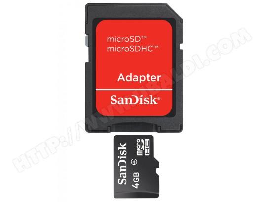Carte mémoire 4 Go SANDISK Micro SD 4 Go + adaptateur SD