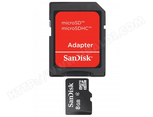 Carte mémoire 8 Go SANDISK Micro SD 8 Go + adaptateur SD