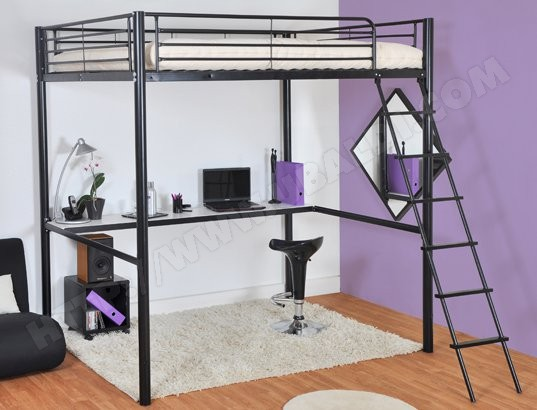 lit mezzanine 2 places pas cher vente lits deux personnes. Black Bedroom Furniture Sets. Home Design Ideas