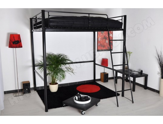 lit mezzanine 2 places hauteur r glable table de lit. Black Bedroom Furniture Sets. Home Design Ideas
