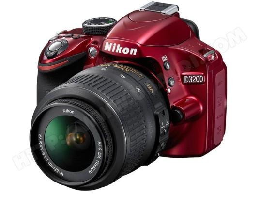 Nikon d3200 rouge af s dx 18 55 vr appareil photo - Appareil photo nikon d3200 pas cher ...
